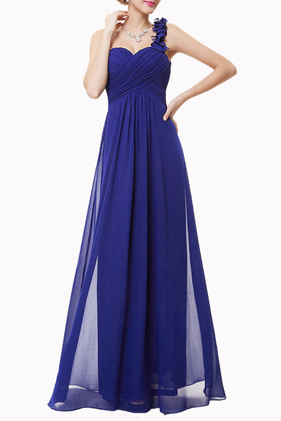 One Shoulder Petals Royal Blue Evening Gown