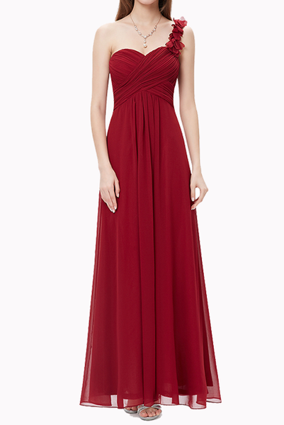 One Shoulder Petals Red Evening Gown