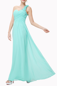 One Shoulder Petals Turquoise Evening Gown