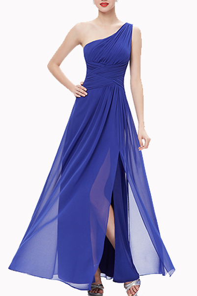 One Shoulder Ruched Prom Royal Blue Evening Gown