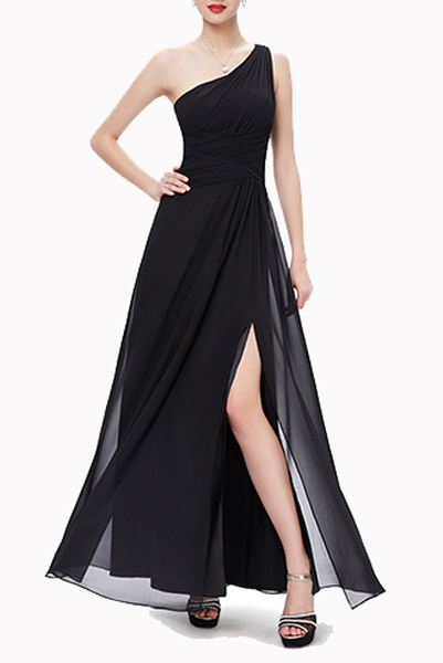 One Shoulder Ruched Prom Black Evening Gown
