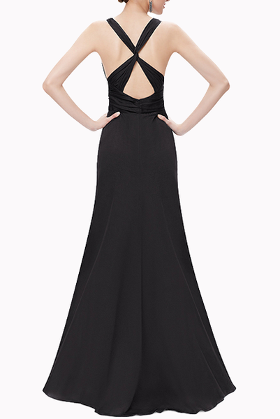 Deep V Ruched Cross Back Evening Gown