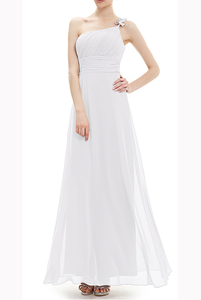 One Shoulder White Prom Evening Gown