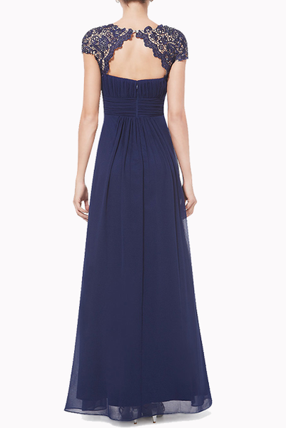 Cap Sleeves Navy Lace Bodice Evening Gown