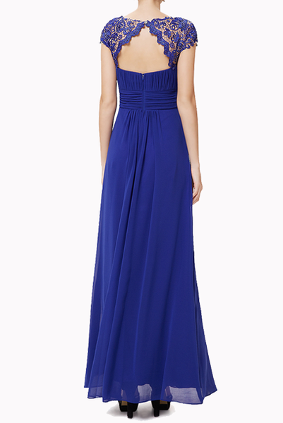 Cap Sleeves Royal Blue Lace Bodice Evening Gown