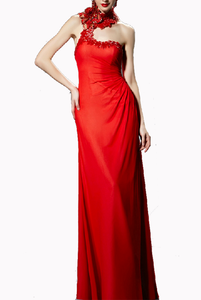 Embellished Floral trapless Red Evening Gown