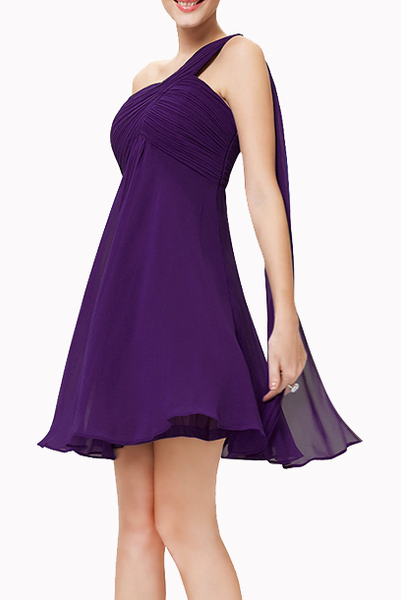 One Shoulder Mini Evening Gown