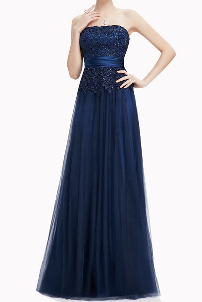 Gatsby Strapless Lace Sequin Blue Evening Gown