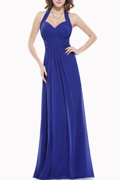 Halter Neck Royal Blue Evening Gown
