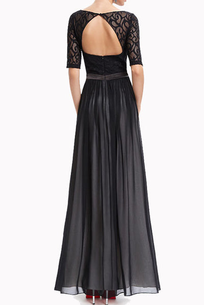 Elbow Sleeves Black Lace Evening Gown