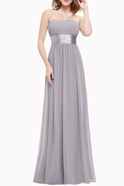 Strapless Grey Evening Gown
