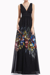 Sleeveless V Neck Floral Black Evening Gown