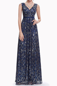 Gatsby Sleeveless V-Neck Sequin Evening Gown