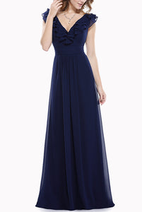Plus Size Ruffles V Neck Blue Evening Gown