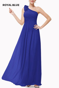 One Shoulder 3D Floral Royal Blue Evening Gown