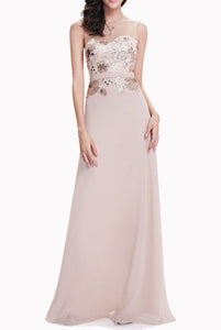 Sleeveless Sequin Champagne Pink Evening Gown