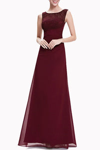 Sleeveless Wine Red Lace Overlay Evening Gown