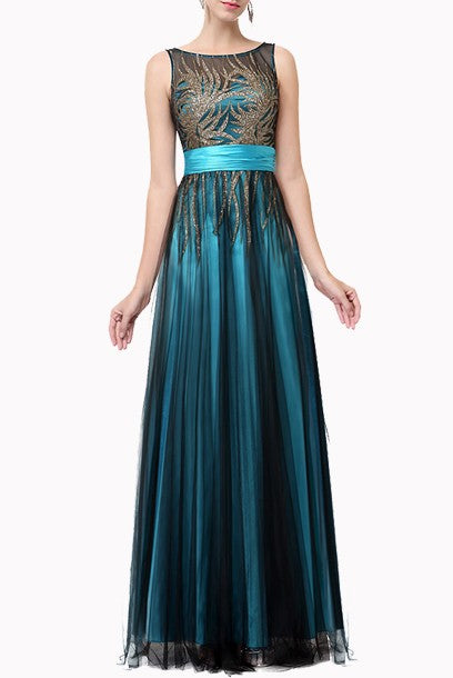 Plus Size Sleeveless Sequin Tulle Mesh Teal Evening Gown