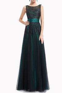 Sleeveless Sequin Tulle Mesh Green Evening Gown