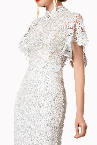 Bell Sleeves Lace Sequin White Cheongsam Wedding Evening Gown