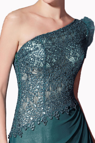 One Shoulder Lace Sequin Green Evening Gown