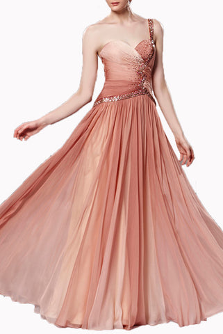 One Shoulder Sand Ombre Rhinestones Evening Gown