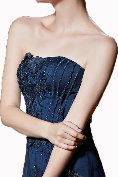 Strapless Bustier 3D Floral Blue Evening Gown