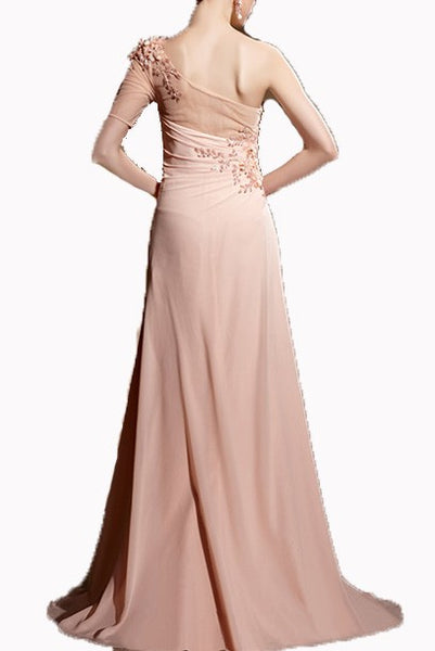 One Shoulder 3D Floral Embellished Pink Evening Gown