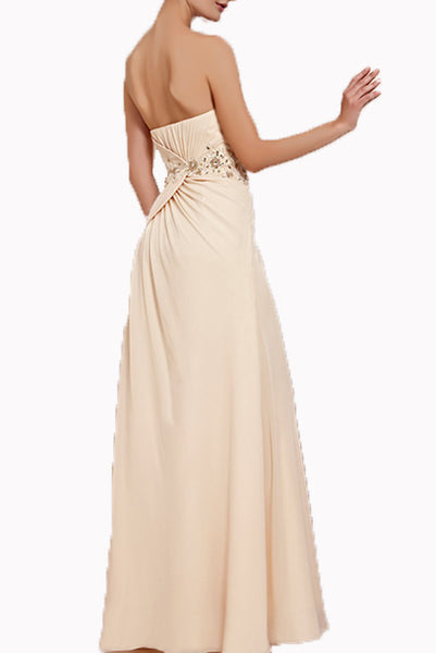 Strapless Sequin Champagne Gold Evening Gown
