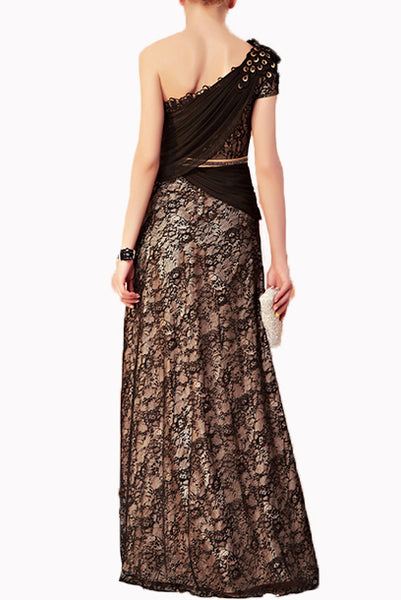 One Shoulder Embellished Lace Chiffon Evening Gown