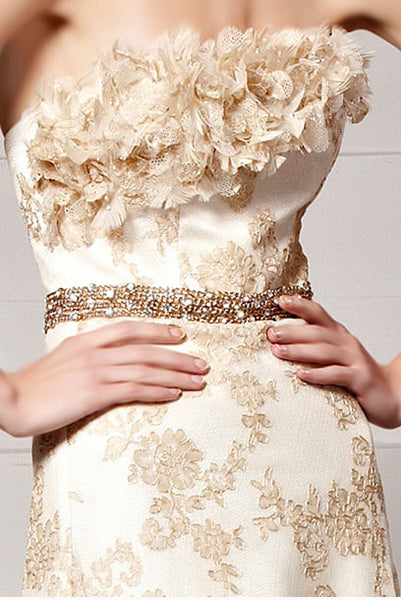 Strapless Lace Champagne Gold Evening Gown with Train