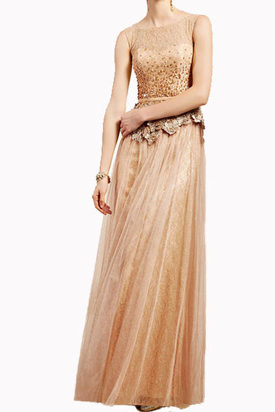 Sleeveless Gold 3D Floral Lace Tulle Evening Gown