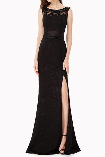 Sleeveless Lace Bare Back Evening Gown