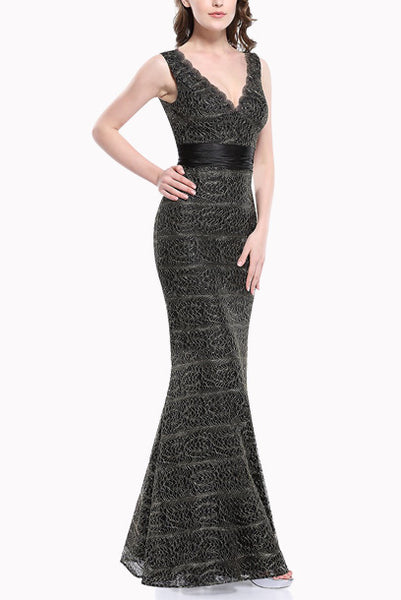 Deep V Neck Lace Mermaid Evening Gown