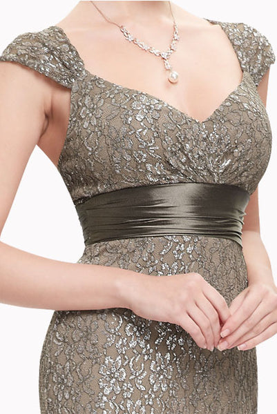 Cap Sleeves Lace Mermaid Bronze Evening Gown