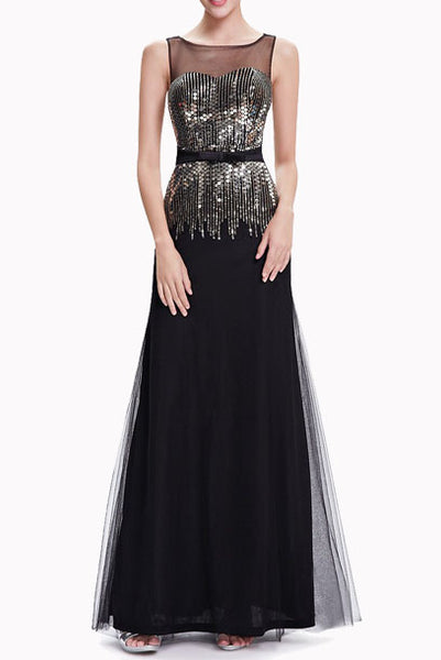 Gatsby Sleeveless Sequin Black Evening Gown
