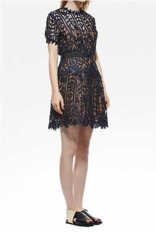 Short Sleeves Lace A-Line Dress