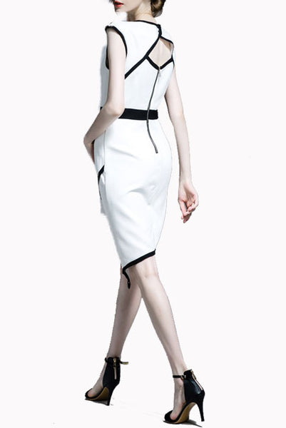 Colourblock Sleeveless Office Dress