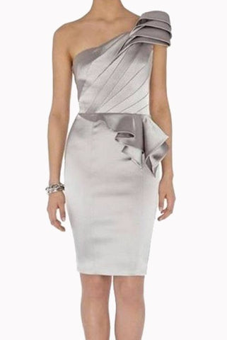 Petite One Shoulder Peplum Satin Pencil Dress