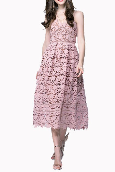 Pastel Pink Textured Guipure Lace Midi Dress