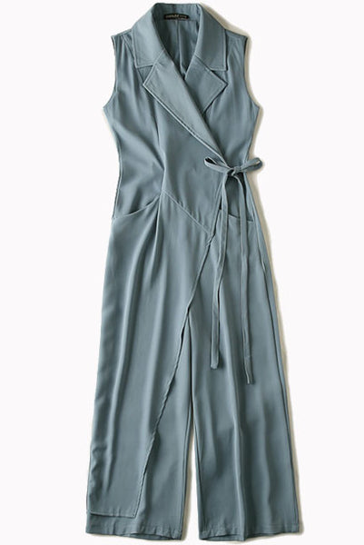 Sleeveless Notched Lapel Playsuit Jumpsuit