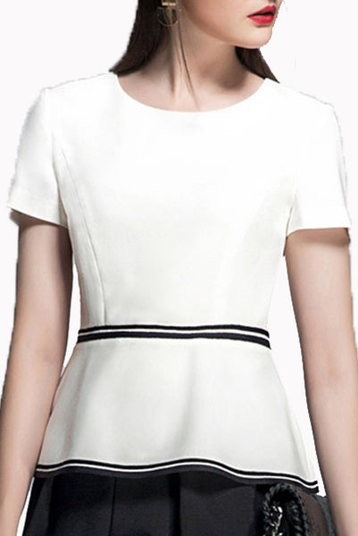 Short Sleeves White Top with Grosgrain Waist