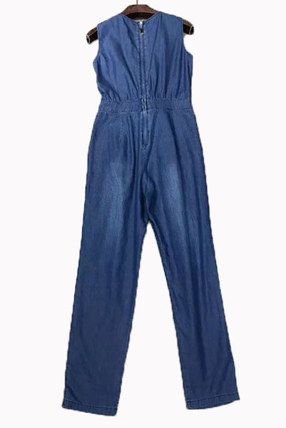 Sleeveless Denim Playsuit Jumpsuit