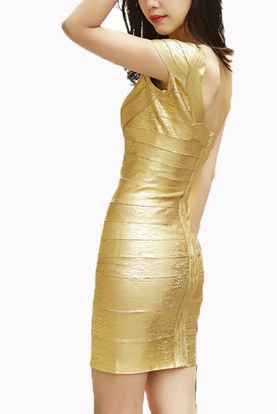 Petite One Shoulder Gold Bandage Dress