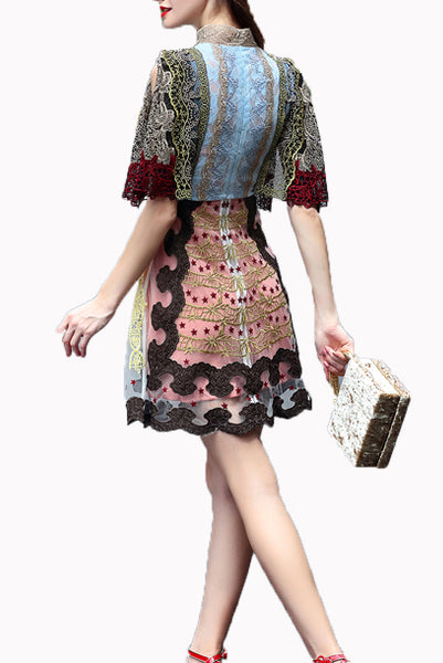 Blake Lively Patchwork Lace Skater Dress