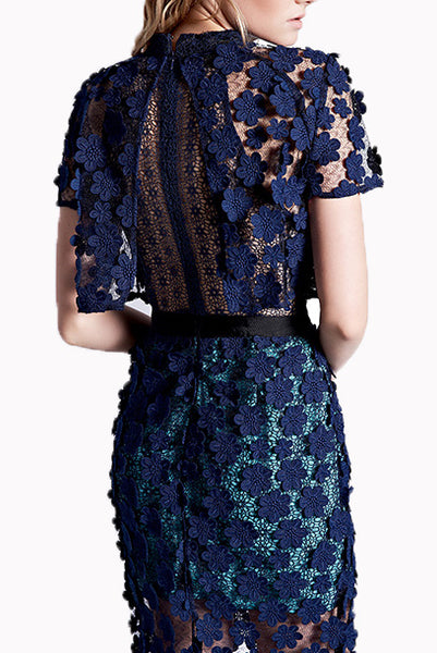Short Sleeves 3D Floral Lace Overlay Maxi Dress