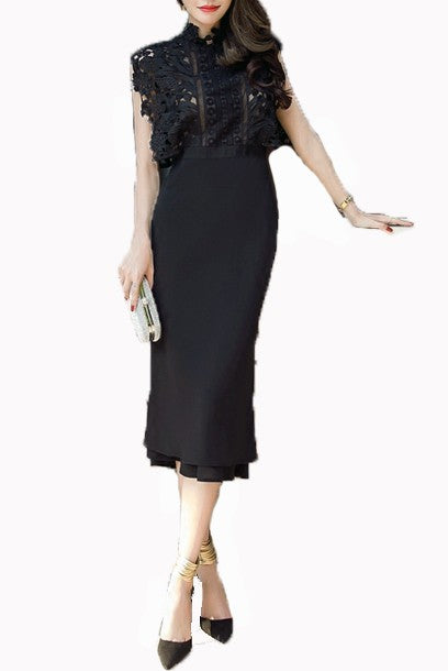 Guipure Lace & Crepe Midi Cocktail Dress
