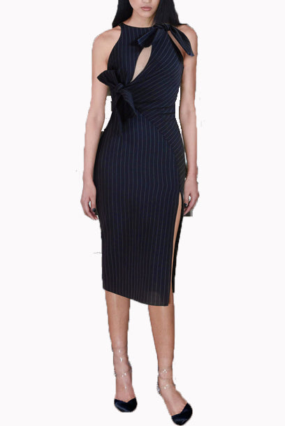 Halter Neck Pinstripes Pencil Dress