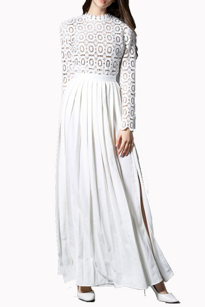 Middleton White Pleated Crochet Floral Maxi Dress