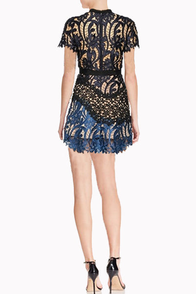 Short Sleeves Patchwork Lace Mini Dress